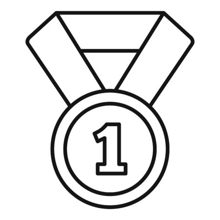 Biathlon gold medal icon, outline style Illustration
