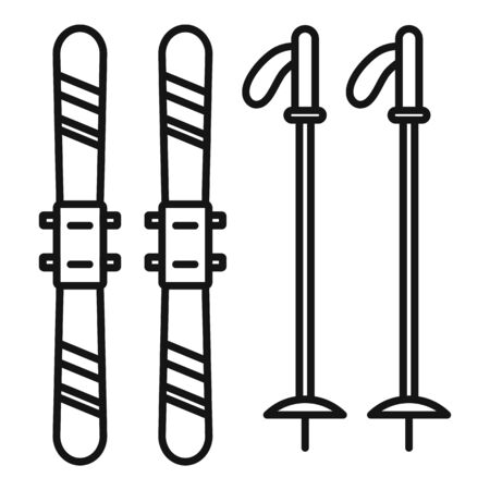 Ski equipment icon, outline style