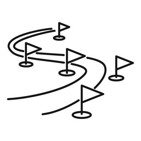 Biathlon track icon, outline style Vettoriali