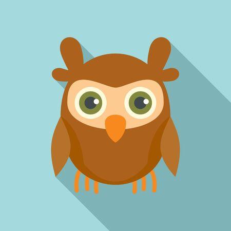 Knowledge owl icon, flat style Stock Illustratie