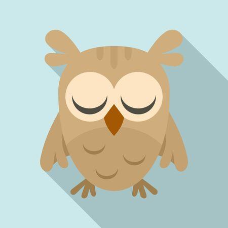 Sleeping owl icon, flat style