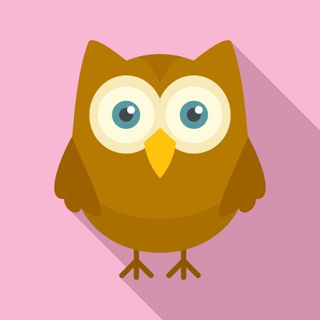 Night owl icon. Flat illustration of night owl vector icon for web design Banque d'images - 128983460