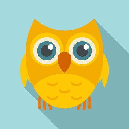 Adorable owl icon, flat style