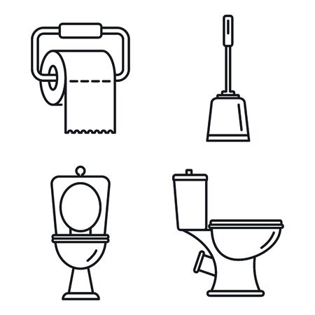 Restroom toilet icons set. Outline set of restroom toilet vector icons for web design isolated on white background