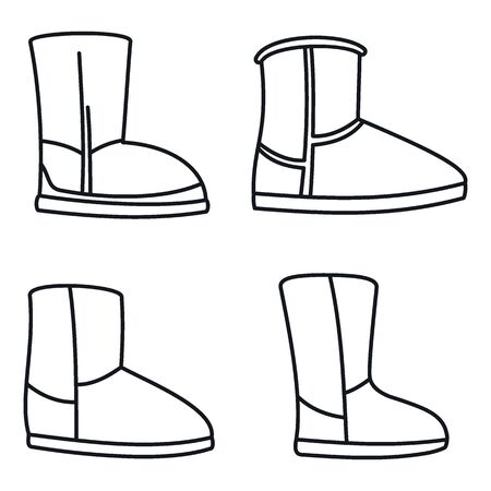 Fashion ugg boots icons set. Outline set of fashion ugg boots vector icons for web design isolated on white background