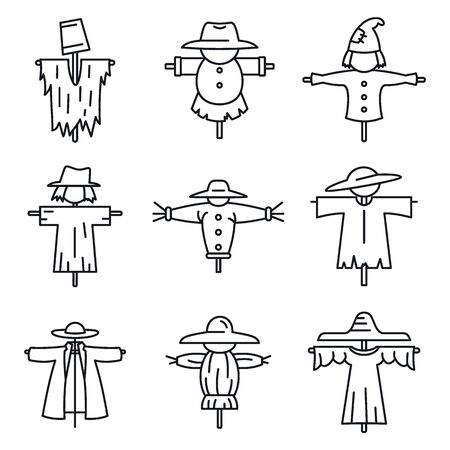 Farm scarecrow icons set. Outline set of farm scarecrow vector icons for web design isolated on white background