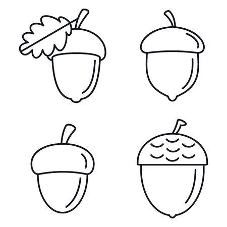 Eichel-Eiche-Icons gesetzt. Umrisse von Vektor-Icons aus Eichenholz für Webdesign isoliert auf weißem Hintergrund Vektorgrafik