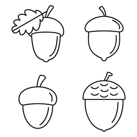 Acorn oak icons set. Outline set of acorn oak vector icons for web design isolated on white background