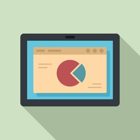 Tablet finance pie chart icon. Flat illustration of tablet finance pie chart vector icon for web design Иллюстрация