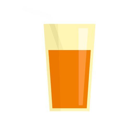 Carrot juice glass icon, flat style Ilustração