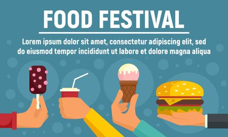Food festival concept banner. Flat illustration of food festival vector concept banner for web design
