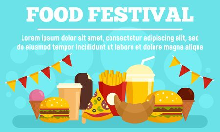 Food festival party concept banner, flat style 일러스트