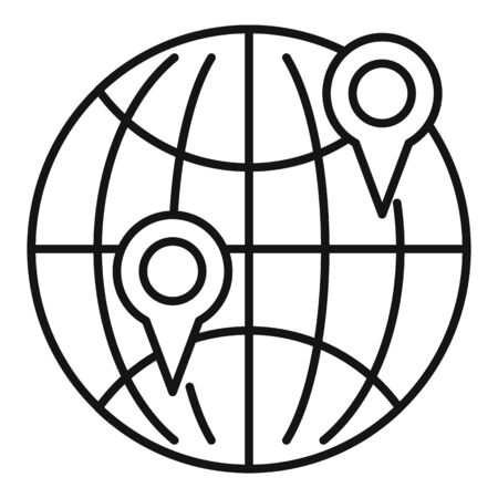 Global warehouse point icon, outline style