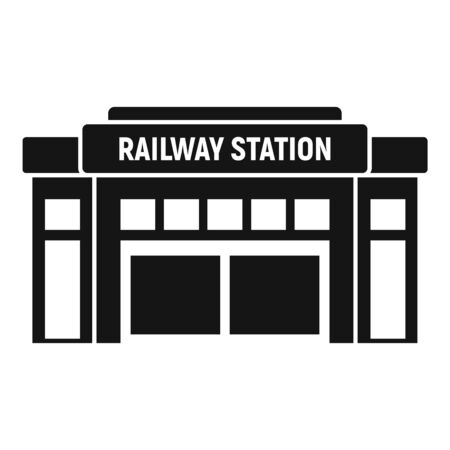 Glass railway station icon, simple style Stock Illustratie