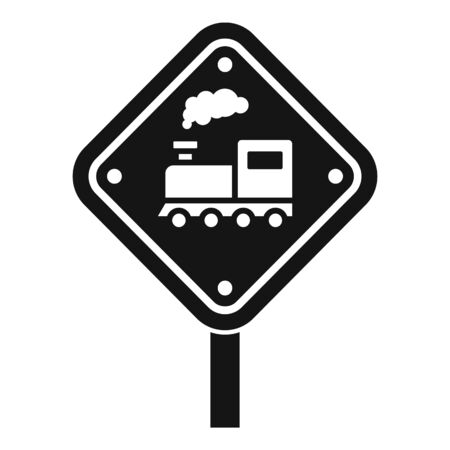 Railway road sign icon, simple style