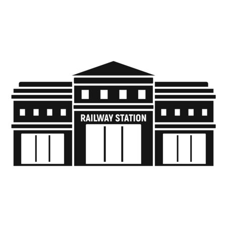 Railway station icon, simple style