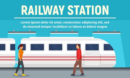 Bannière de concept de gare ferroviaire, style plat Vecteurs