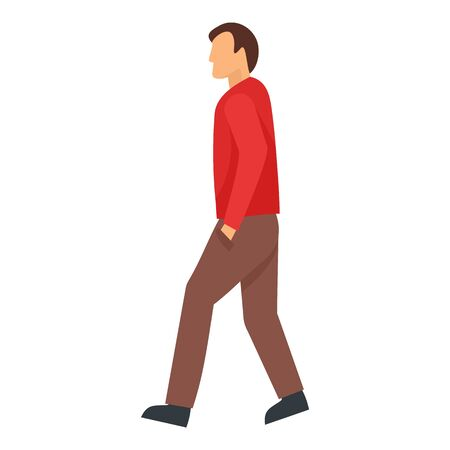 Walking man icon, flat style