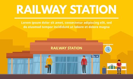 Railway station building concept banner, flat style Stock Illustratie