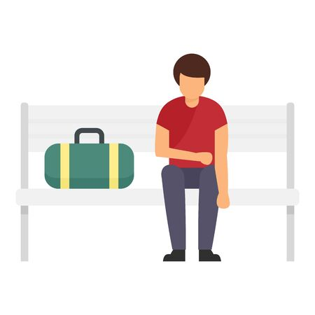 Sportsman stay at bench icon, flat style Illustration