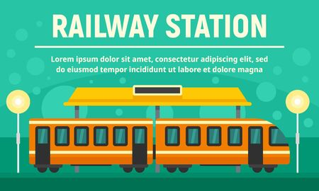Railway village station concept banner, flat style Stock Illustratie