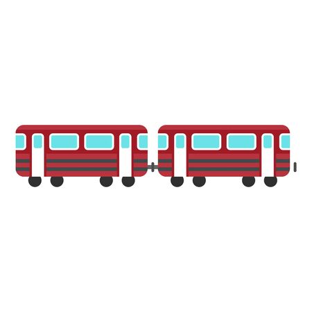 Wagons train icon, flat style
