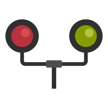 Railway traffic lights icon, flat style Stock Illustratie