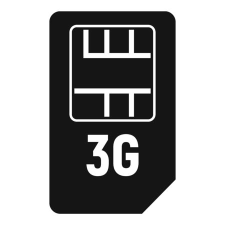 3g sim card icon, simple style