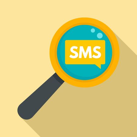 Sms magnify glass icon, flat style