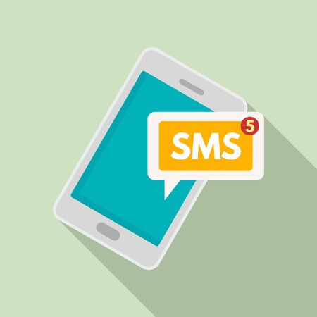 Smartphone sms icon, flat style