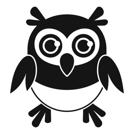 Adorable owl icon, simple style