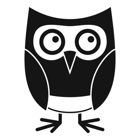 Cute owl icon, simple style