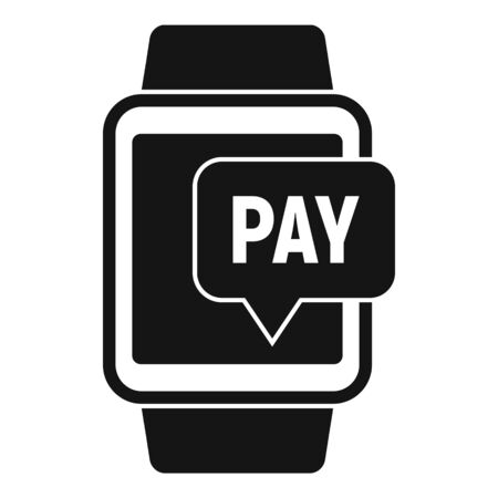 Smartwatch nfc payment icon, simple style