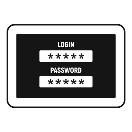 Web bank login icon, simple style