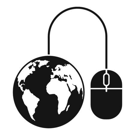 Global web banking icon, simple style Ilustracja