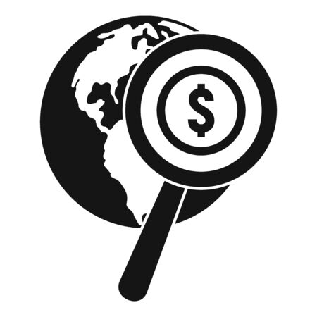 Search global money icon, simple style
