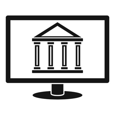 Internet bank building icon, simple style