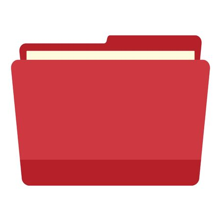 Red pc file folder icon, flat style