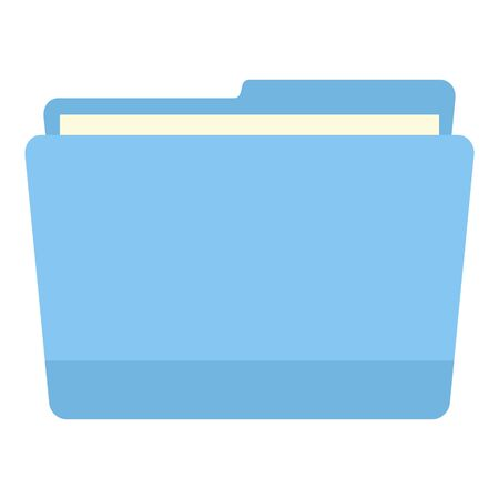 Blue computer file folder icon, flat style