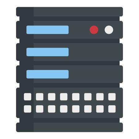 Computer server icon, flat style 일러스트