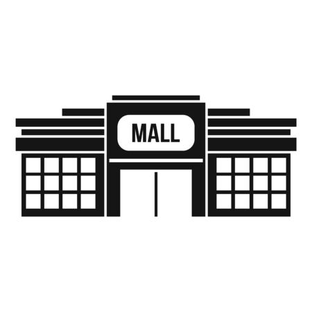 Small mall building icon, simple style