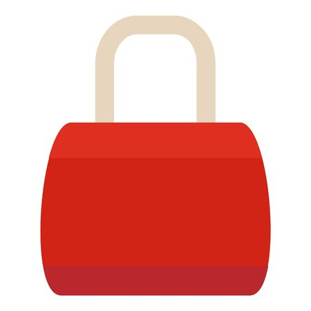 Red woman bag icon, flat style