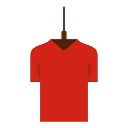 Red style tshirt icon, flat style