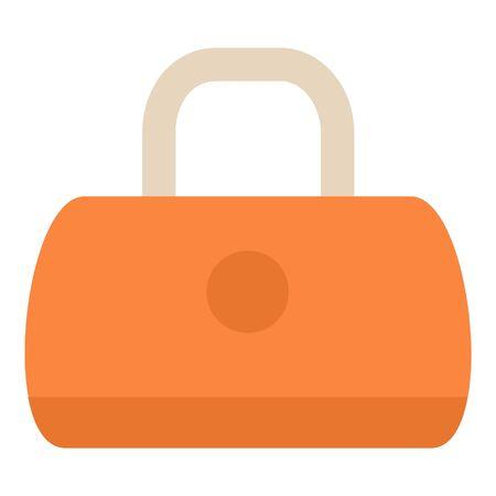 Orange leather bag icon, flat style