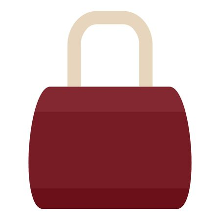 Brown leather bag icon, flat style Banco de Imagens - 129377109