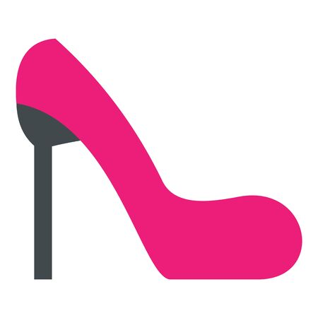 Pink girl shoe icon, flat style