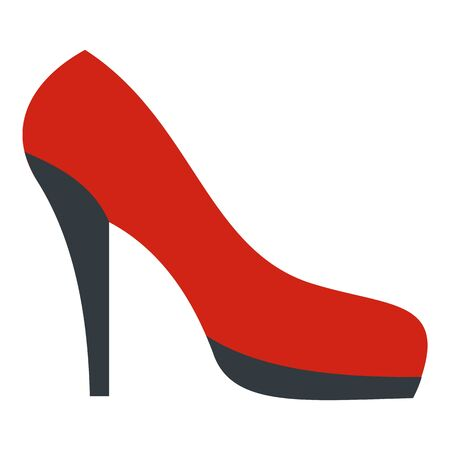 Red black shoe icon, flat style