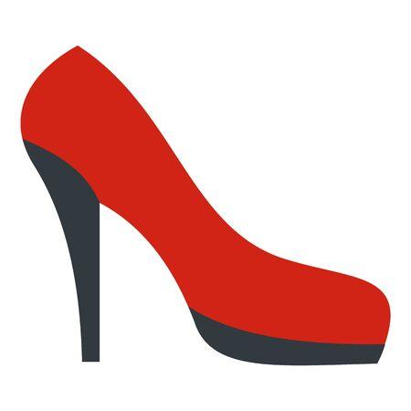 Red black shoe icon, flat style Foto de archivo - 129377207
