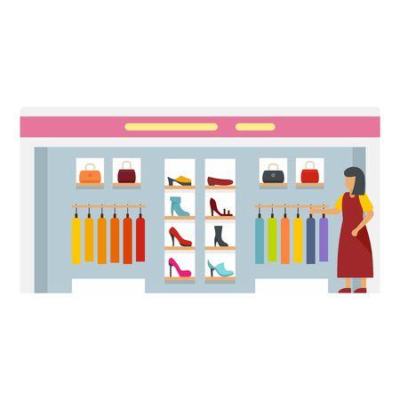 Woman shop boutique icon, flat style