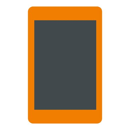 Orange tablet icon, flat style